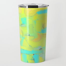 Abstract Slices Yellow Blue Green Travel Mug
