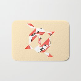 Tangram Koi - Yellow background Bath Mat