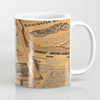 newspaper Mugs featuring old newspaper by Marianna Burk
