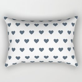 Polka dot hearts - dark blue Rectangular Pillow