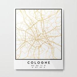 COLOGNE GERMANY CITY STREET MAP ART Metal Print
