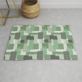 Olive Linen Abstract Color Block Pattern Rug