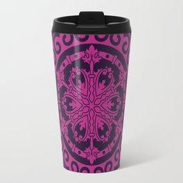 Pink Mandala on Dark Purple Travel Mug
