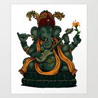 ganesha Art Prints featuring Ganesha by Nip Rogers