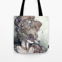 contemporary Tote Bags featuring Vulpes Masquerade, now as a print! by Caitlin Hackett
