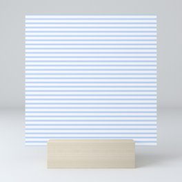 Mattress Ticking Narrow Horizontal Stripe in Pale Blue and White Mini Art Print