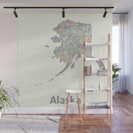 Alaska map Wall Mural