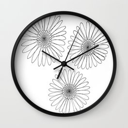 B&W Daisies Wall Clock