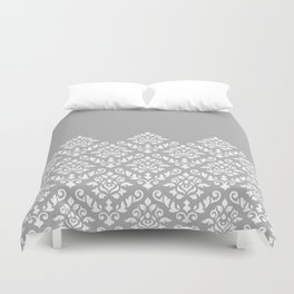 Damask Baroque Part Pattern White on Grey Duvet Cover