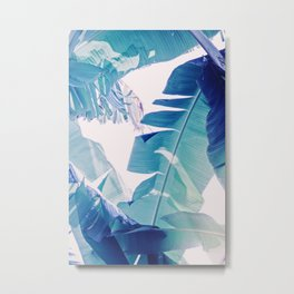 Banana Leaf Blue Metal Print