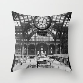 Penn Station 370 Seventh Avenue Train Station Concourse New York black and white photography - photo Throw Pillow