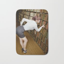"""Research"" - The Playful Pinup - Sexy Librarian Pin-up Girl by Maxwell H. Johnson Bath Mat"