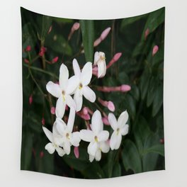 Delicate White Jasmine Blossom with Green Background Wall Tapestry