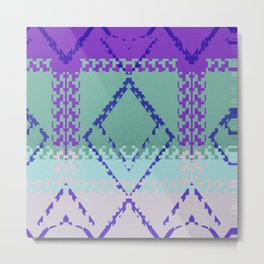 Purple mint green and blues diamond Aztec inspired Design Metal Print