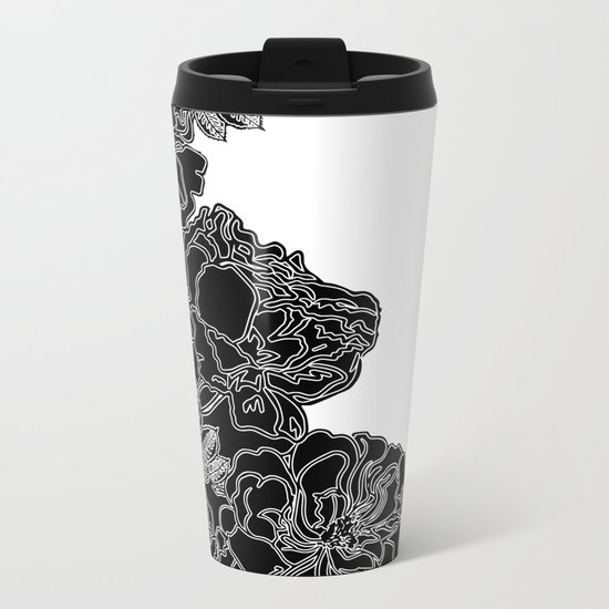 FLORAL IN BLACK AND WHITE Metal Travel Mug