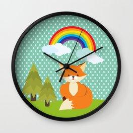 Fox, Rainbow , nursery decor , children gift, birthday gift Wall Clock