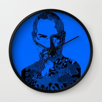 steve jobs Wall Clocks featuring Steve Jobs blue by Rebecca Bear