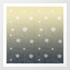 White Daisy Flowers Ombre Art Print