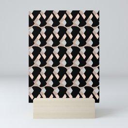 Weave me alone // pink, black + polka dot knit camo pattern Mini Art Print
