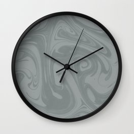 PPG Night Watch Pewter Green Abstract Fluid Art Swirl Pattern Wall Clock