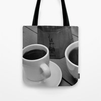 coffe Tote Bags featuring Coffe for two by Camaracraft
