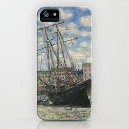 Claude Monet - Boats Lying at Low Tide at Facamp iPhone Case