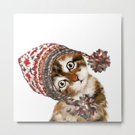 Baby Cat with the Hat Metal Print