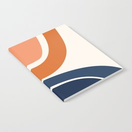 Abstract Shapes 7 in Burnt Orange and Navy Blue Notebook