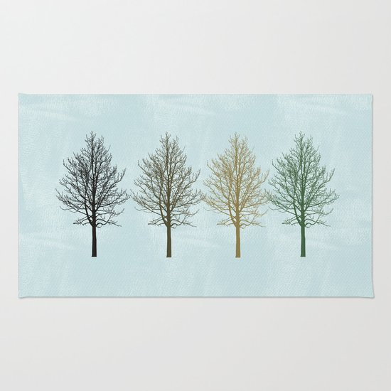 Four Colors Trees Rug