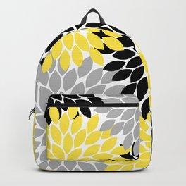 Yellow Black Gray Flower Burst Floral Pattern Backpack