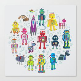 Robots in Space Canvas Print