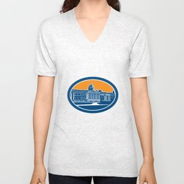 National Gallery London Building Retro Unisex V-Neck