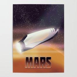 Mars Spaceship - sci-fi travel space art poster. Poster