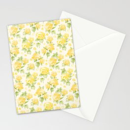 Modern  sunshine yellow green hortensia flowers Stationery Cards