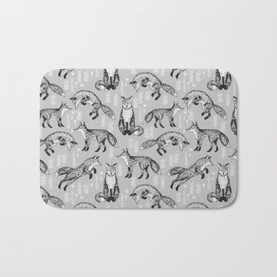 Fox pattern drawing foxes cute andrea lauren grey forest animals woodland nursery Bath Mat