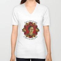 frida V-neck T-shirts featuring FRIDA by badOdds
