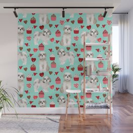 Shih Tzu valentines day pattern for dog lover with cute shih tzu puppy love by pet friendly Wall Mural