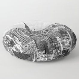 New York City Cityscape (Black and White) Floor Pillow