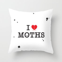 I Love Moths Throw Pillow