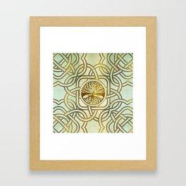 Golden Tree of life  -Yggdrasil on vintage paper Framed Art Print