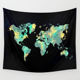 world map 87 green blue Wall Tapestry