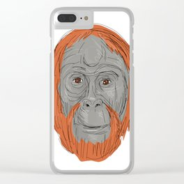 Unflanged Male Orangutan Drawing Clear iPhone Case