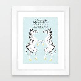 Two Zebras (Dr. Seuss) Blue Framed Art Print