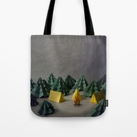 camp Tote Bags featuring camp by Chelsea Gass