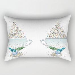 Tea Cup - Colored Rain Theme Rectangular Pillow