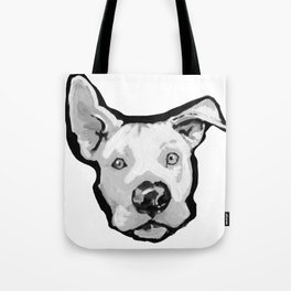 RESCUE ME Pit Bull Pitbull Dog Pop Art black and White Painting by LEA Tote Bag