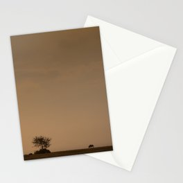 Lone wildebeest grazing in South Africa at sunset Stationery Cards