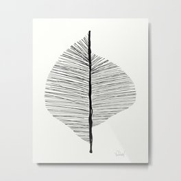 Abstract Leaf Art Print - Nature Art Print Black and whit Metal Print