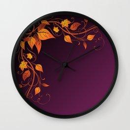 Maroon Autumn Leaves Wall Clock