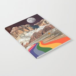 Trippy 1960s Stars and Moon Retro Red Rock Canyon Collage Milky Way Galaxy Colors Notebook